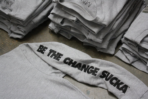 MNKR Be the Change Sucka™ Sweatshirts care package for Standing Rock protesters.