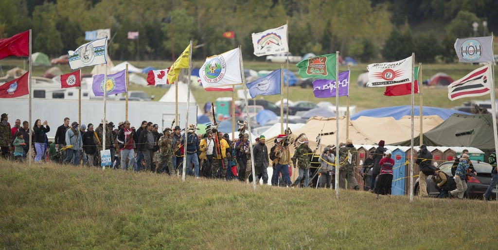 Many tribal nations unite in overflow camp. (Photo Christopher Juhn for MPR News)