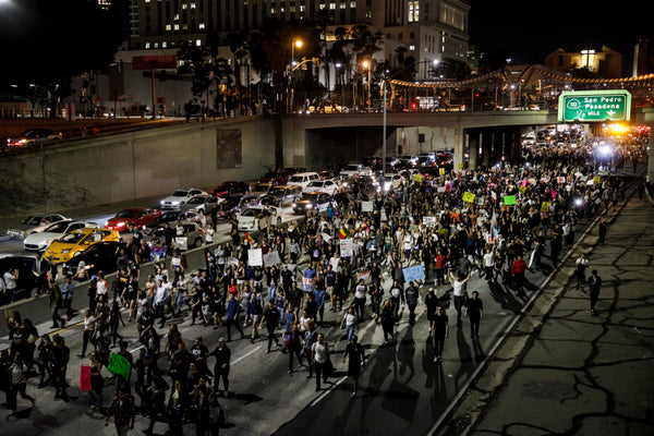 Trump protesters shut down the 101 Freeway Nov. 9th (Marcus Yam / LA Times via Getty Images)