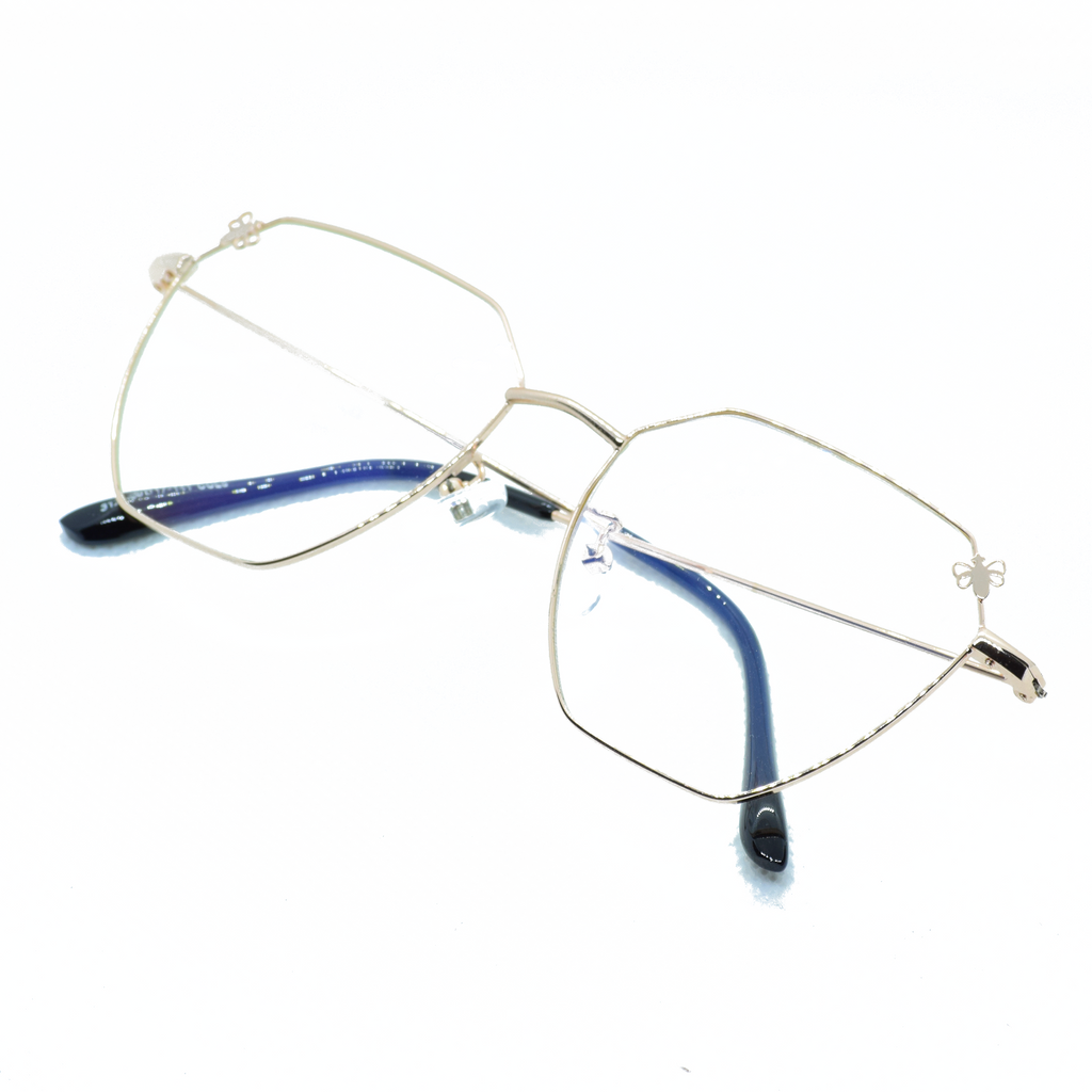Butterfly Angular Metal Frame Eye Glasses