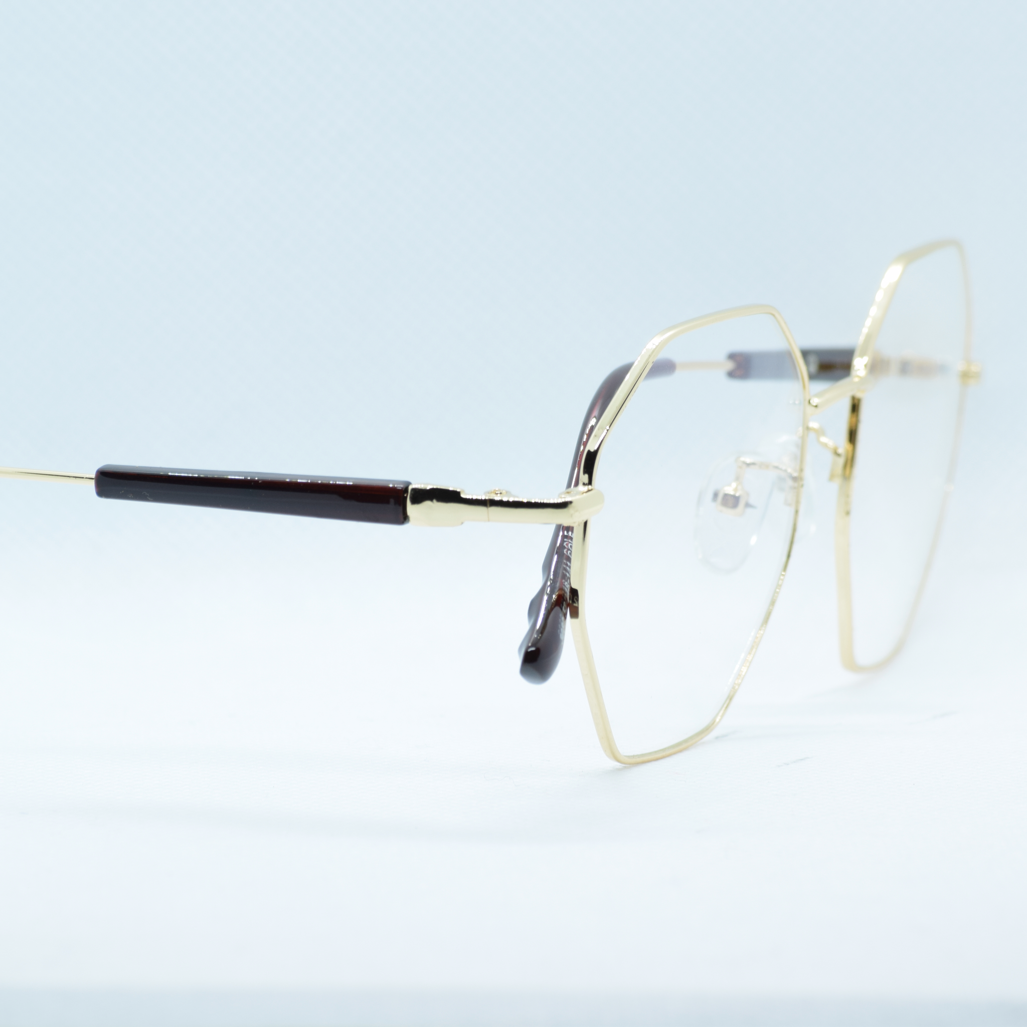 Hexagonal Metal Frame Eye Glasses