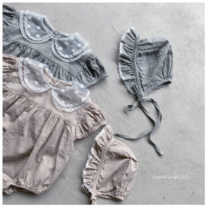 (Pre-Order) Mesh Collar Romper With Bonnet