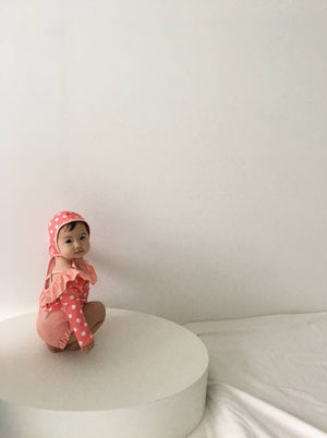 Dot Frill Swimsuit with Hat - My Little Monkey