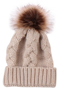 Cable Hat With Puff
