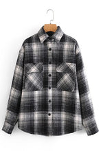 Load image into Gallery viewer, Black & White Plaid Camp Shirt