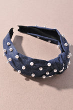 Load image into Gallery viewer, A008 Pearl Denim Knotted Headband