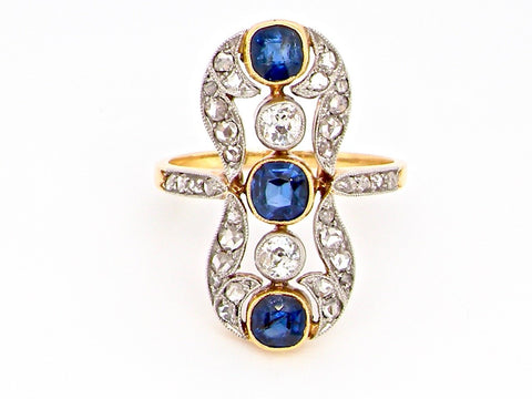 BELLE ÉPOQUE PERIOD SAPPHIRE AND DIAMOND RING