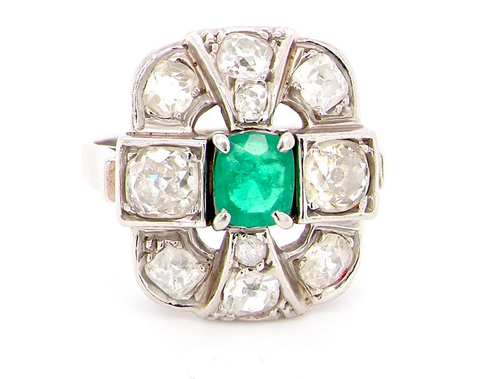 French Emerald and Diamond ring