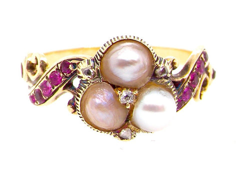 Antique Ruby And Pearl Dress Ring