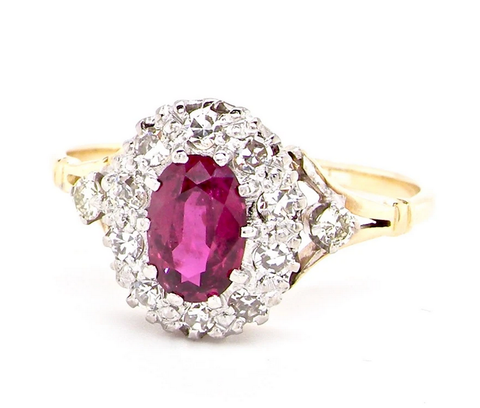 Ruby And Diamond Cluster Vintage Ring