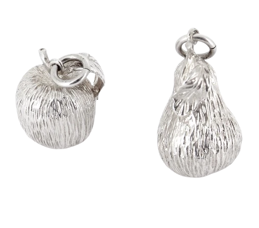 A pair of silver fruit pendants