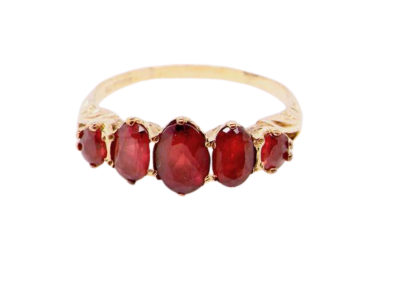 A 9 carat gold 5 stone garnet dress ring