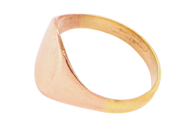 A 9 carat rose gold mid size signet ring