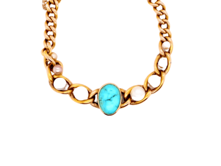 A fine Victorian turquoise and pearl bracelet