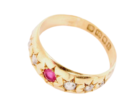 A Victorian 18ct gold diamond and ruby dress ring