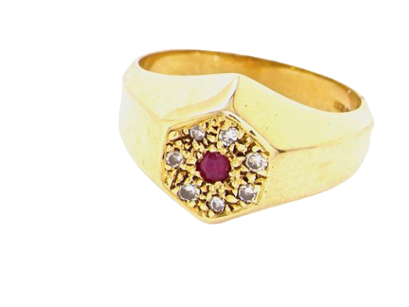 A unisex ruby and diamond signet style gem ring