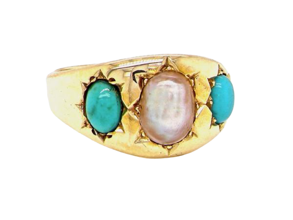 A Victorian pearl and turquoise dress ring