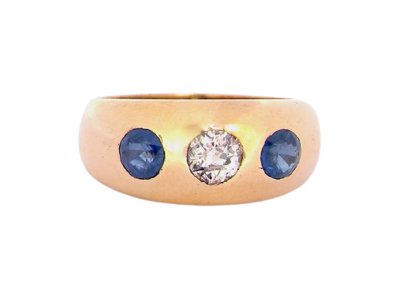 A 'gypsy' style 18 carat gold sapphire and diamond ring