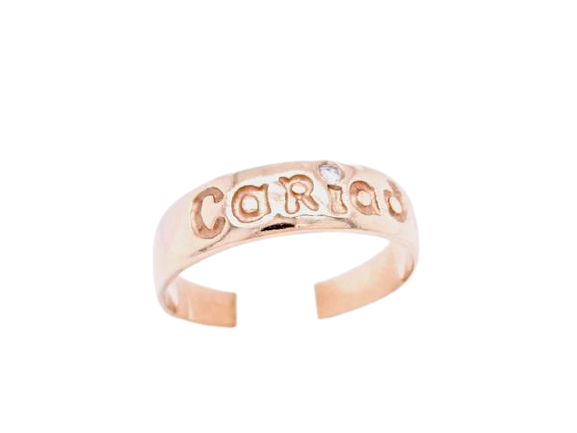 A diamond set Cariad  Welsh gold ring