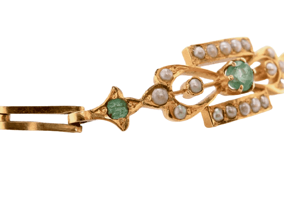 A fine Edwardian emerald and pearl bracelet