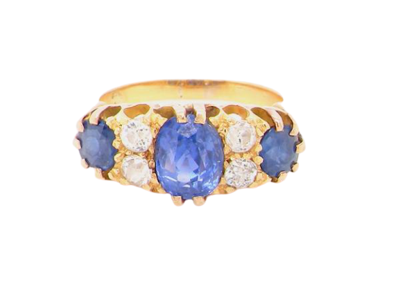 A fine Edwardian sapphire and diamond ring