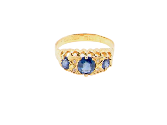 A late Victorian sapphire and diamond ring