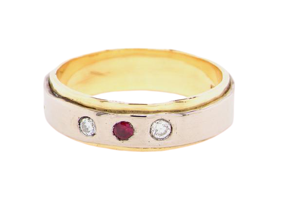 A man's two colour 18 carat gold ruby and diamond ring