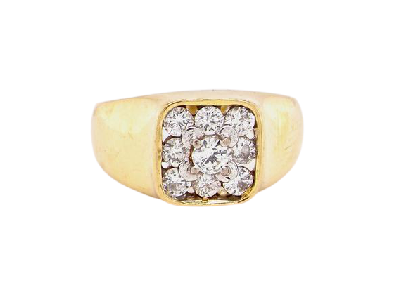 An 18 carat gold diamond cluster signet ring