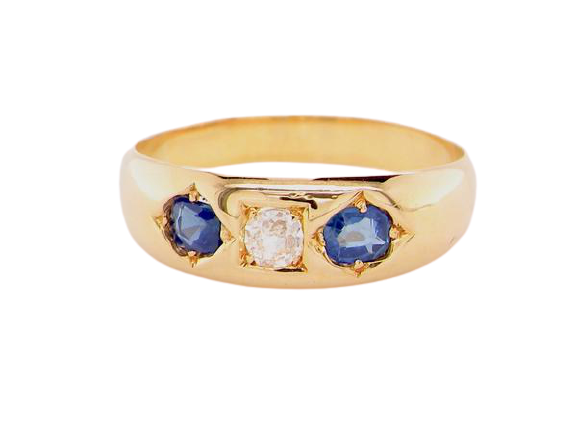 An antique sapphire and diamond gypsy style ring