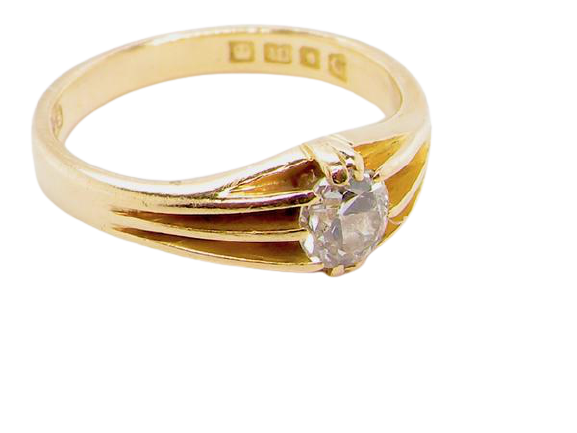 An 18ct gold antique solitaire diamond ring