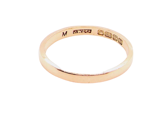 A narrow 2mm 22 carat gold wedding ring *RESERVED*