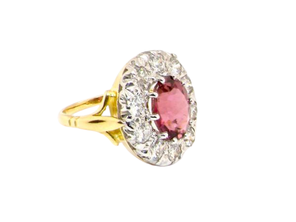 An impressive pink tourmaline and diamond cluster ring