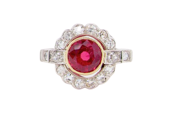 A ruby and diamond target cluster ring