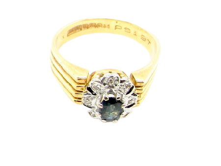 A typical 1970's sapphire and diamond ring