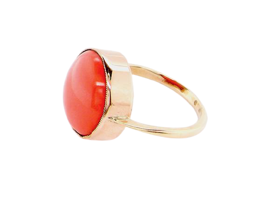 A vintage coral dress ring