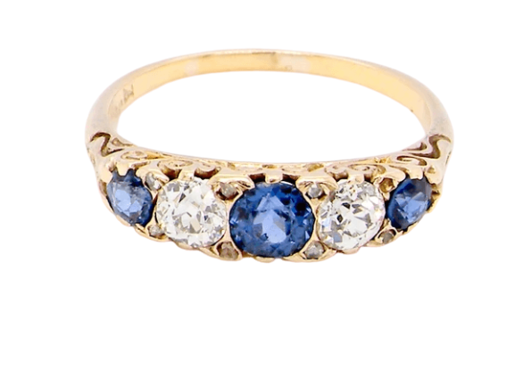 A vintage five stone sapphire and diamond ring