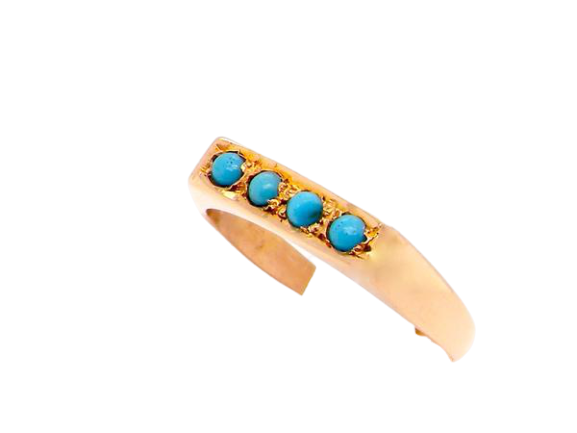 A vintage four stone turquoise ring