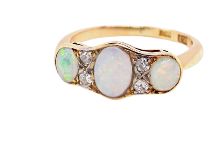 A vintage opal and diamond ring