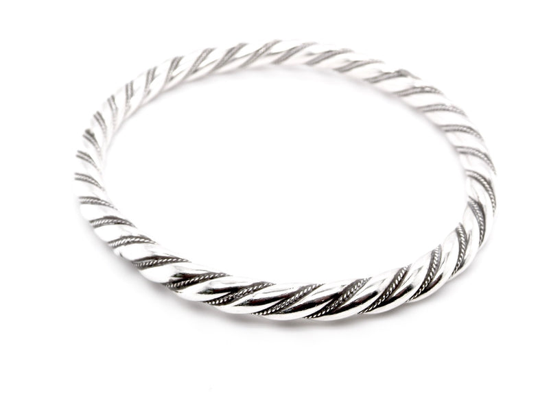 A silver barley sugar twist bangle