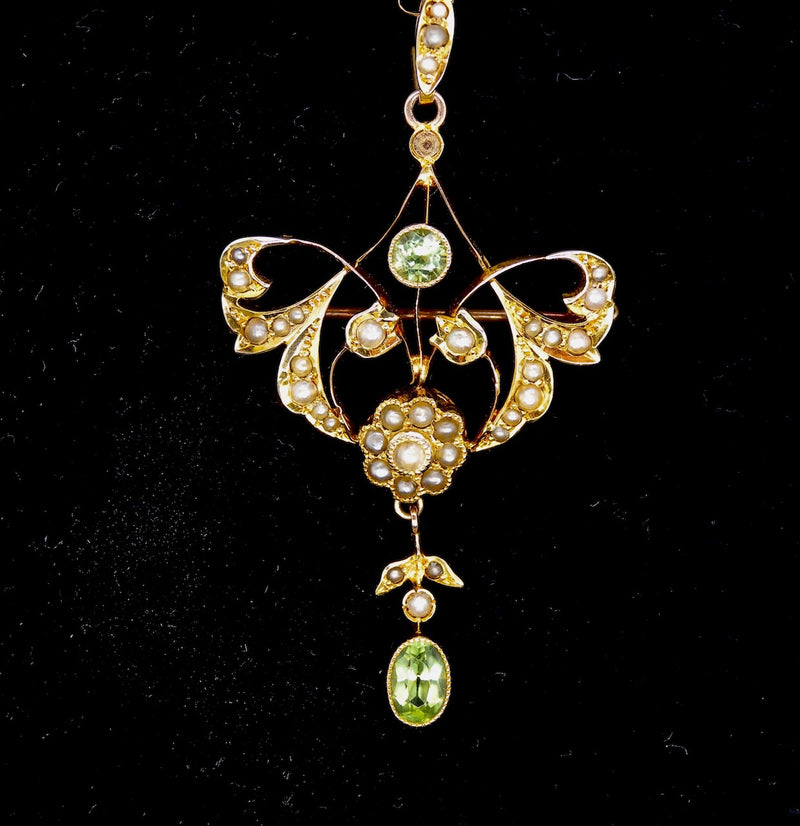 An Edwardian pearl and peridot pendant