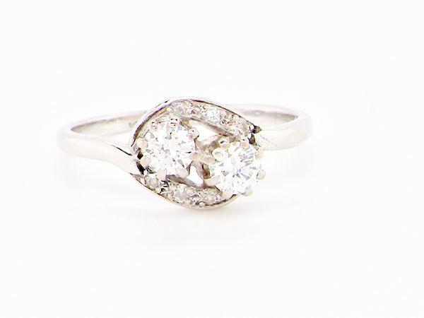 A vintage diamond two stone ring