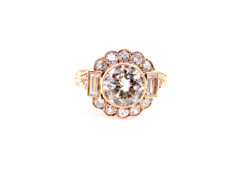 A fine 1.5ct diamond cluster ring