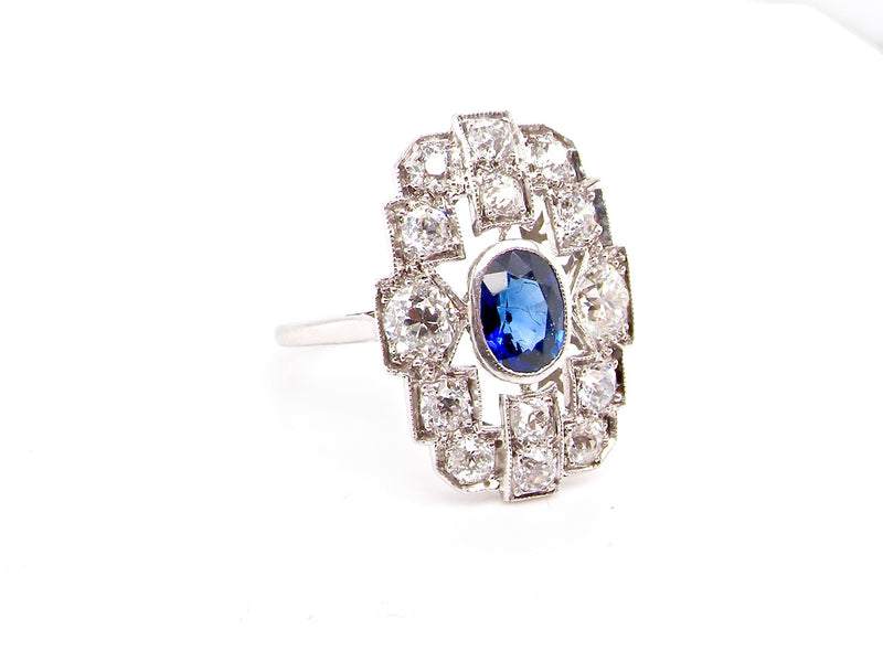 A fine Art Deco sapphire and diamond cluster ring