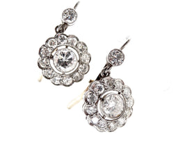 A pair of antique diamond cluster drop earrings