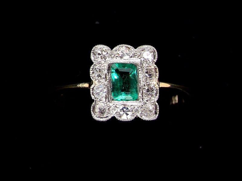 An Edwardian emerald and diamond cluster ring-RESERVED