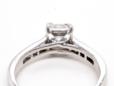 A princess cut platinum solitaire ring
