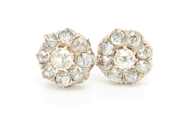 A pair of vintage diamond cluster earrings