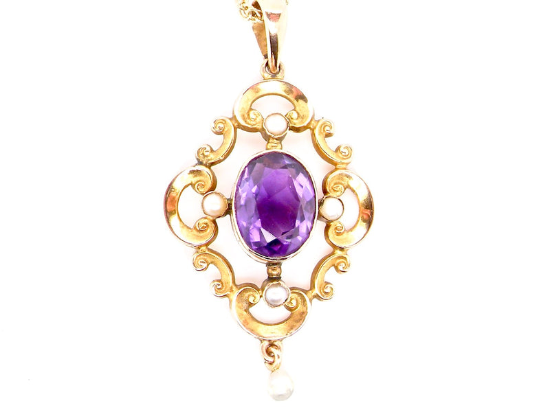 An amethyst and pearl Victorian pendant