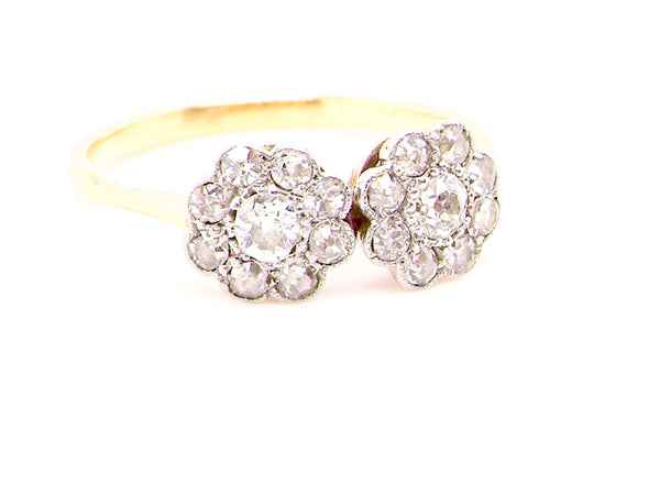 An Edwardian double cluster diamond ring