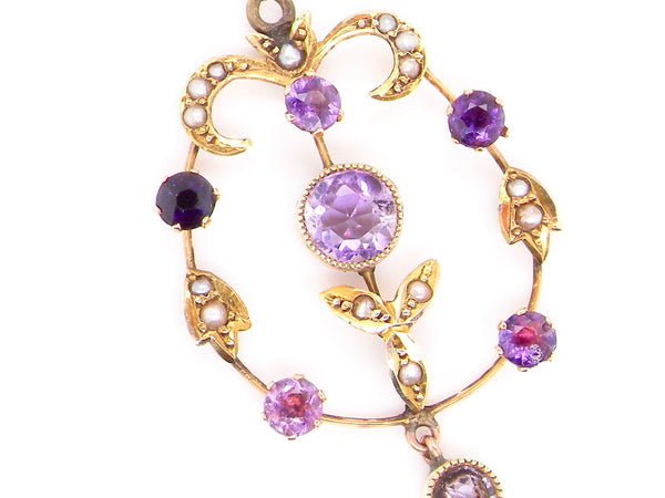 A lovely Victorian amethyst and pearl pendant